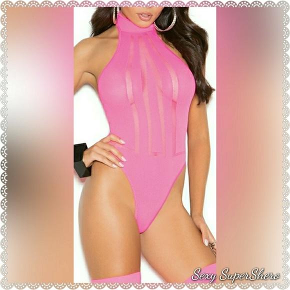 800d3e65cdb92a 🆕Hot Pink Hottie Mock Neck Teddy Stockin Lingerie. Boutique. Sexy  SuperShero